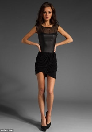 City Star Allie Crandell banned from fashion website for being too skinny.