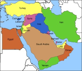 Actual map (as of Jan 31 2011) of the Mid East.