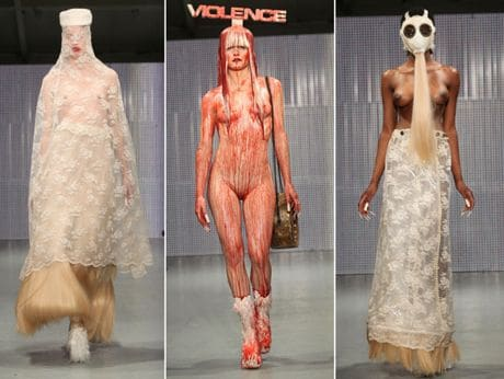 Its time for squealing pigs, bloody models and yours truly the Charlie Le Mindu fashion show.