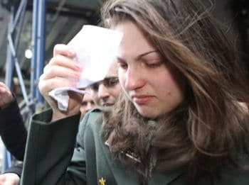 Zhanna Smsarian, 16, leaves Brooklyn Criminal Court after her arraignment for allegedly throwing acid on her classmate during chemistry class.  Read more: http://www.nydailynews.com/news/ny_crime/2011/03/10/2011-03-10_16yearold_zhanna_smsarian_charged_after_she_splashed_classmate_with_acid_to_burn.html#ixzz1GKH9kNln
