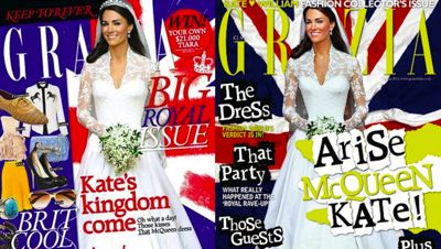 Grazia Magazine is playing games with Kate Middletons figure on its covers.