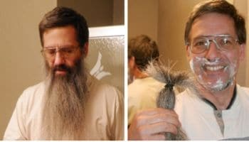 Teacher shaves for first time since Sept. 11th, 2001
