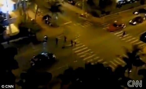 From above: A video was also taken giving an aerial view of the shooting scene