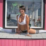 Show girl: An unidentified bikini barista shows off her physique at a Java Juggs espresso bar, as photographed on online review site Yelp!.