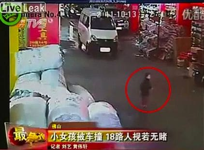 China searches its soul as two year old toddler is run over by a van, ignored repeatedly by passerbys before being run over again and later dying in hospital.