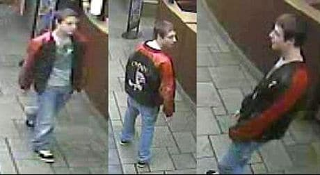 The suspect as seen by surveillance cameras.