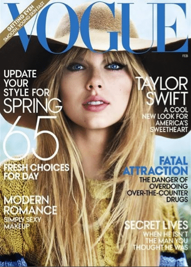Taylor Swift becomes my February hero. Bixch snags February Vogue cover.