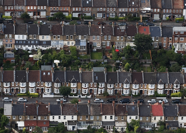 An aerial view of houses in Leyton, east London, in the borough of Waltham Forest, one of the five so-called Olympic Boroughs.