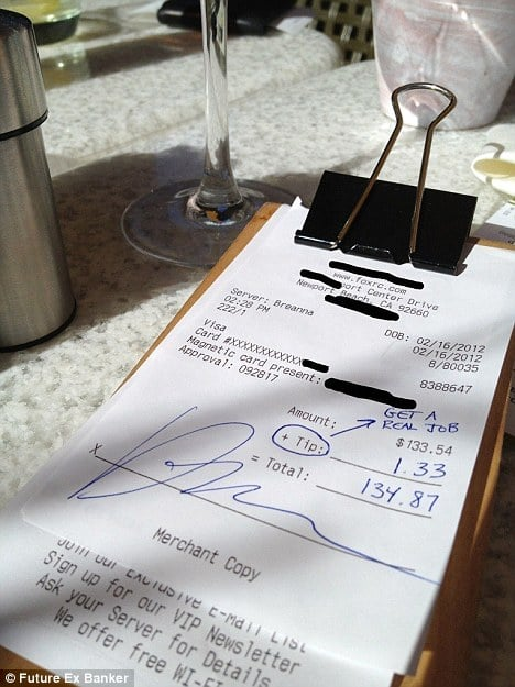 Customer leaves $1.33 tip on food bill of $133.54