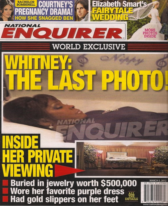 Whitney Houston open faced in her casket.
