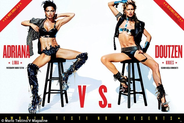 Its time to gawk at supermodels faux fighting in lingerie.