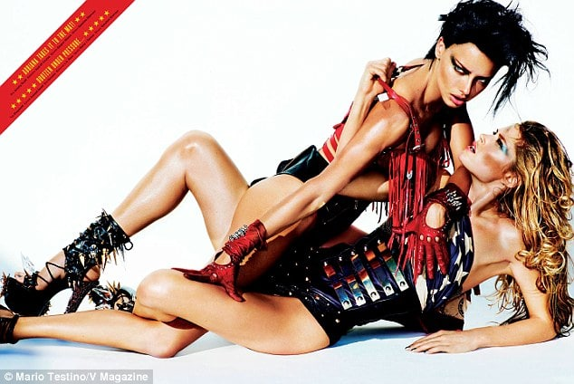 Adriana Lima and Doutzen Kreus for V magazine as shot by Mario Testino