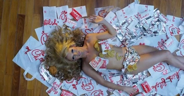 Transgender star Willam endorses right wing owning Chick fil A chow down.