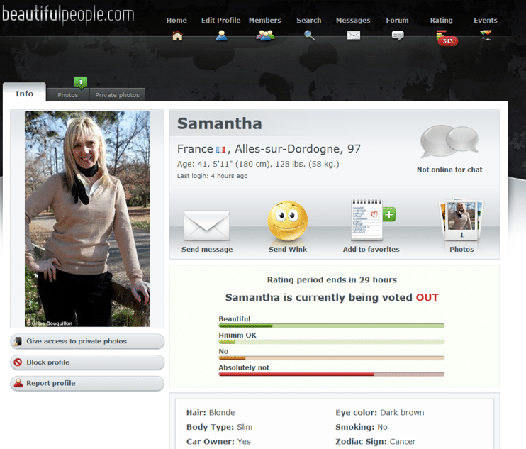 Samantha Brick overwhelmingly voted down by dating site beautifulpeople.com