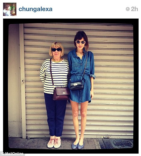 Alexa Chung on instagram with her mother.