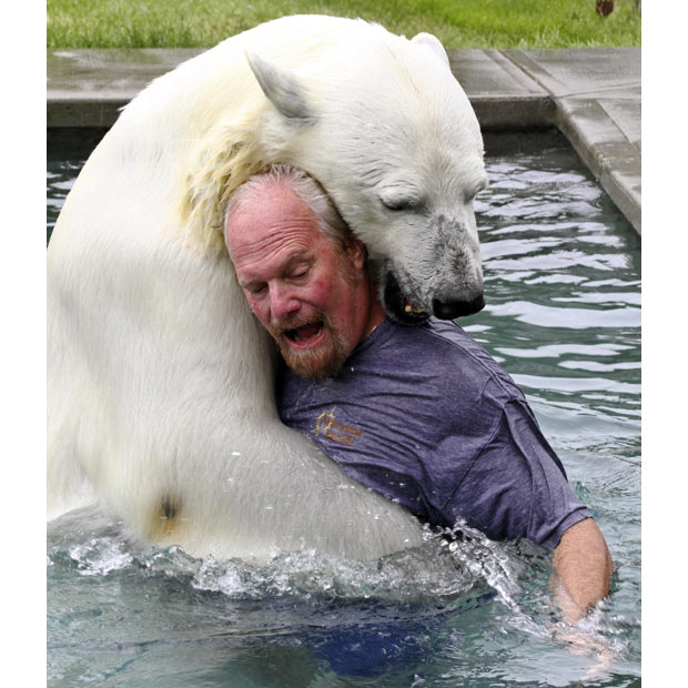 Video: So what if Mark Dumas likes to get in the pool with his pet polar bear....?
