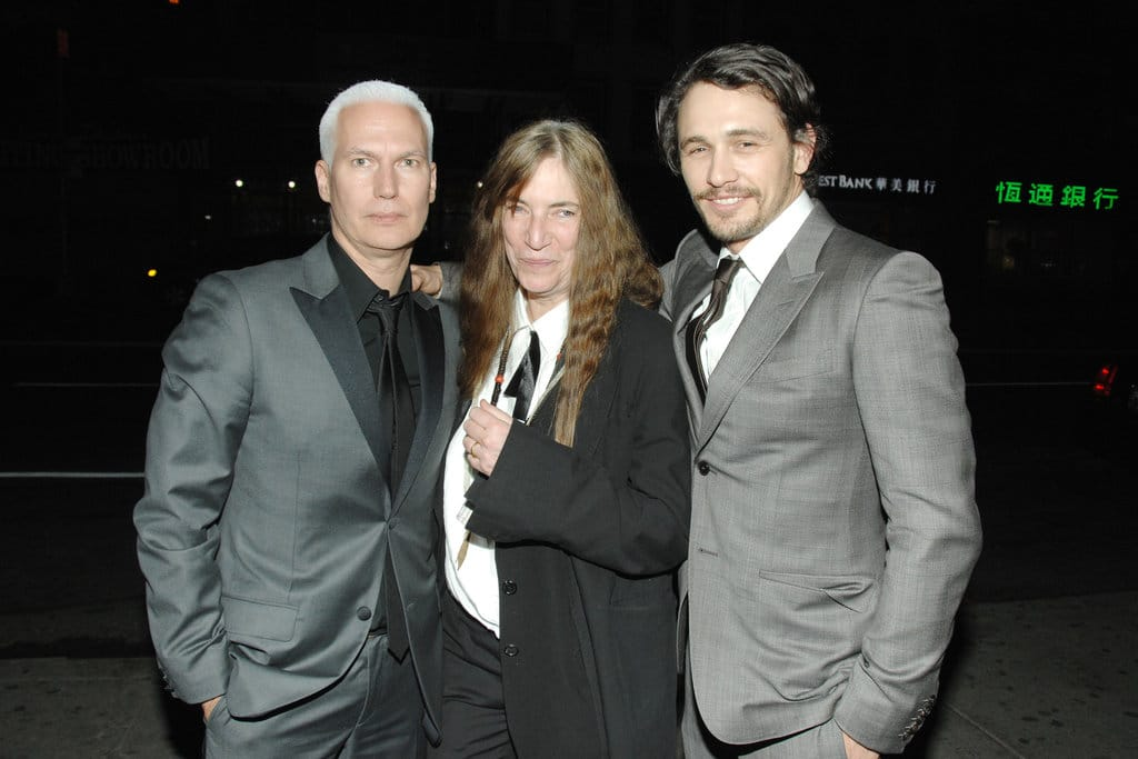 Klaus Biesenbach, Patti Smith and James Franco. Paul Bruinooge/PatrickMcMullan.com