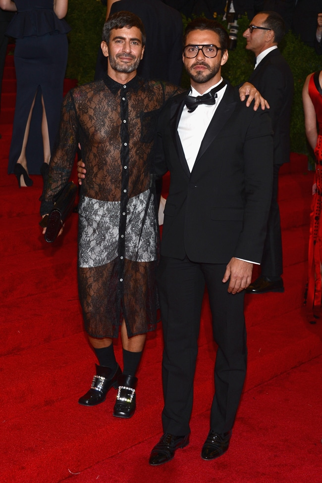 "NEW YORK, NY - MAY 07:  Designer Marc Jacobs (L) and Lorenzo Martone attend the ""Schiaparelli And Prada: Impossible Conversations"" Costume Institute Gala at the Metropolitan Museum of Art on May 7, 2012 in New York City.  (Photo by Dimitrios Kambouris/Getty Images)"