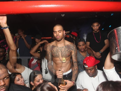 Picture of Chris Brown at W.I.P nightclub moments before brawl ensued.