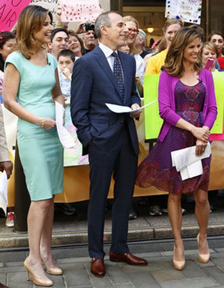"The surreal charade continues. TODAY -- Pictured: (l-r) Al Roker, Savannah Guthrie, Matt Lauer, Natalie Morales and Rashida Jones appear on NBC News' ""Today"" show -- (Photo by: Peter Kramer/NBC)"