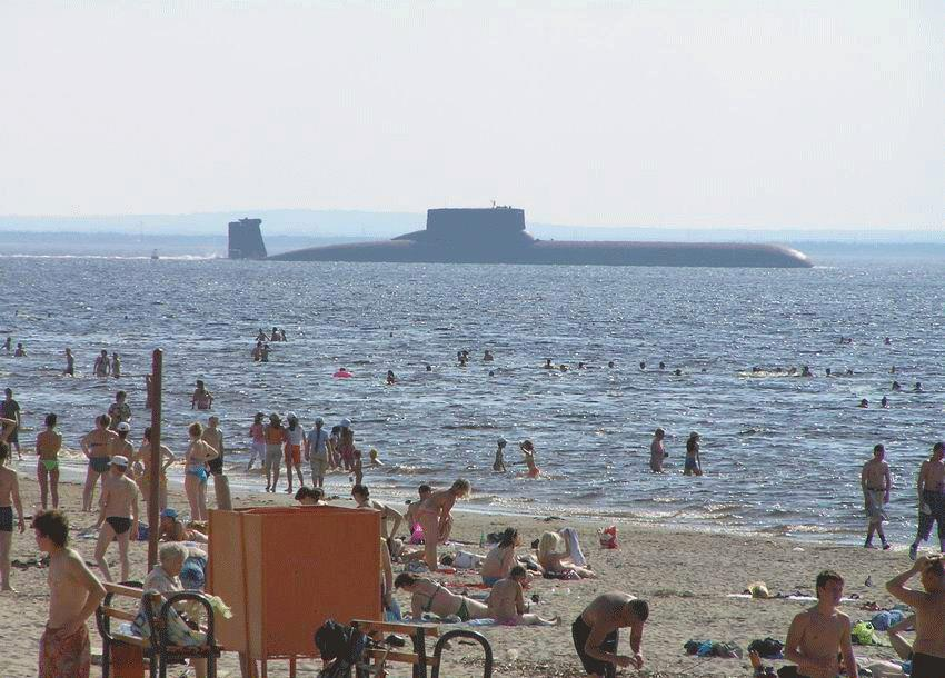 A submarine off the coast somewhere along Russia.