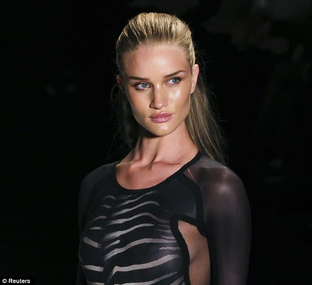 Rosie Huntington-Whiteley  Former model turned actress returns back to modeling and leaves attendees gasping. You better work hard for the money Rosie… Rosie Huntington-Whiteley along with some other