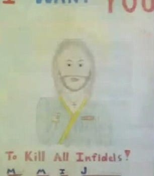 Jesus Christ with title 'I want you to kill all infidels.'