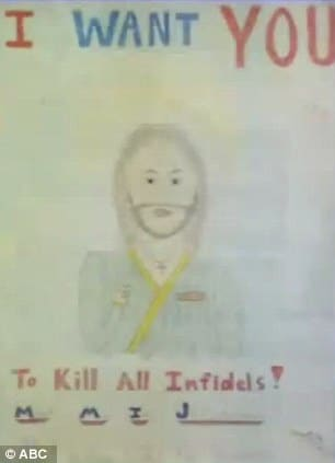 School refuses to take down childs drawing of Jesus Christ with title I want you to kill all infidels.
