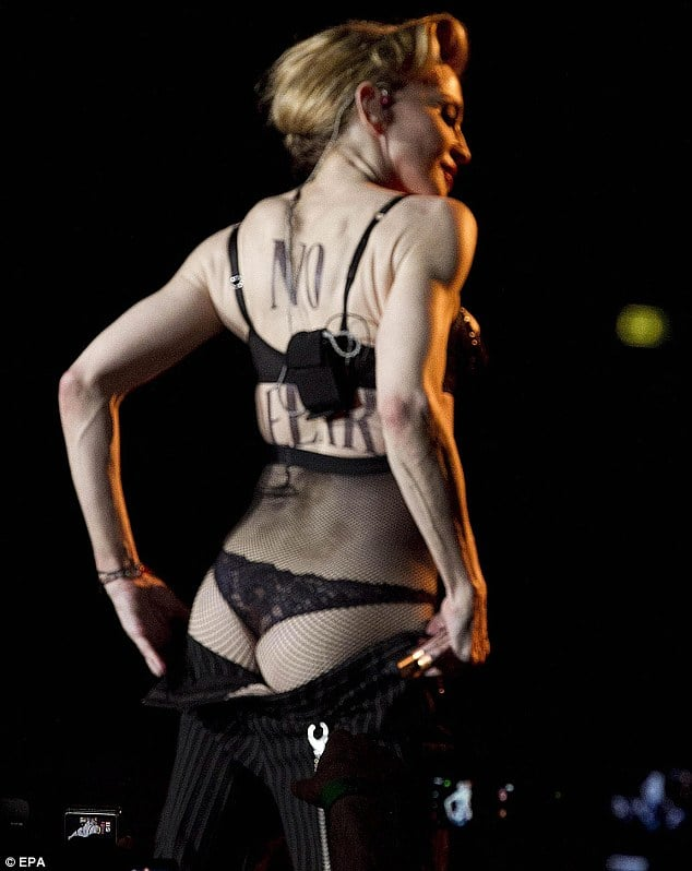 Oh no! Instead of showing her breast Madonna now shows her bottom!