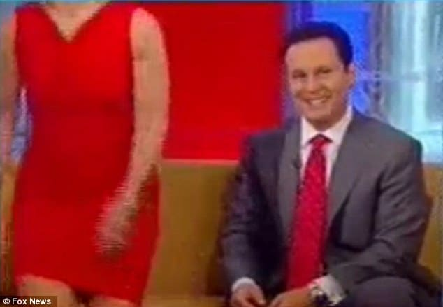 Fox's Gretchen Carlson getting up from the set leaving an incredulous Brian Kilmeade to watch on.