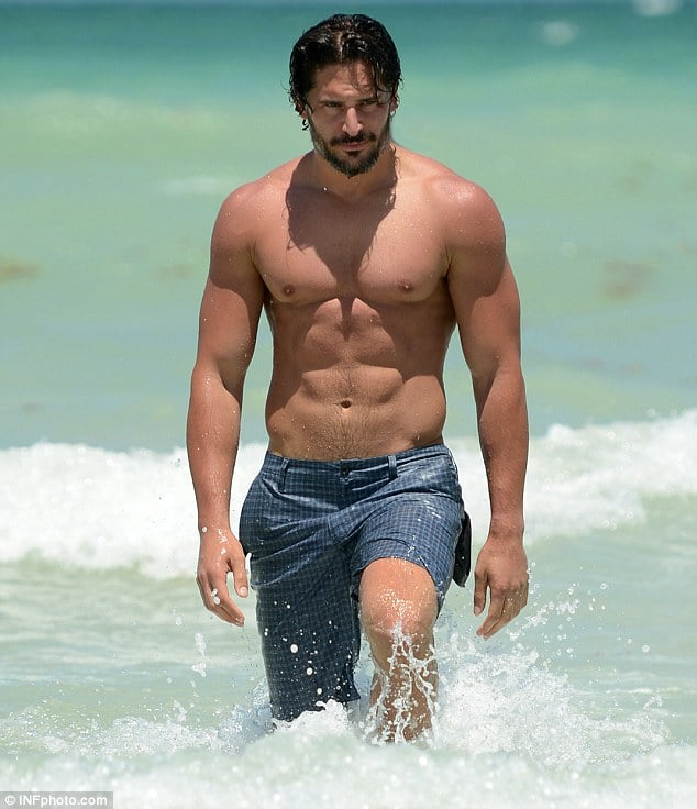 True Bloods Joe Manganiello really is a hawt bixch. Strips in South Beach, Miami.