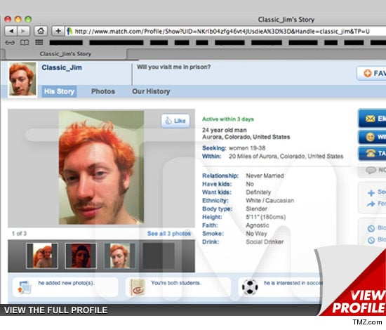 James Holmes dating profile on match.com