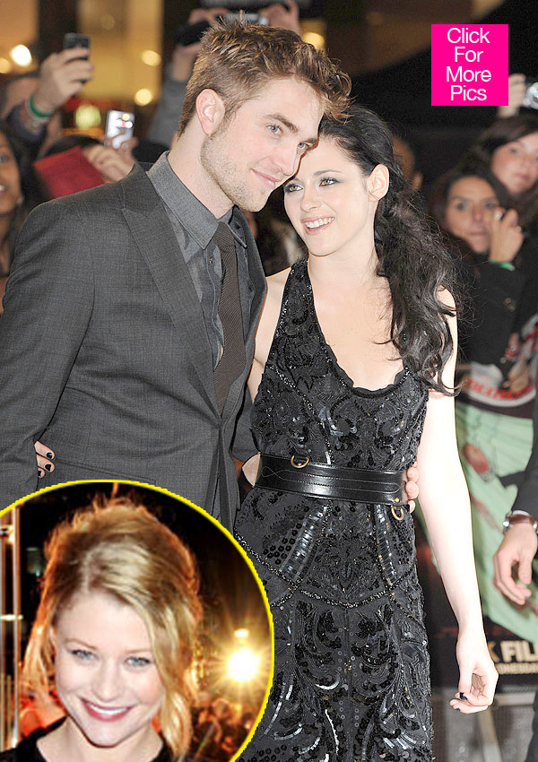 Robert Pattinson and Kristen Stewart and Emilie de Ravin inset. Image via hollywoodlife