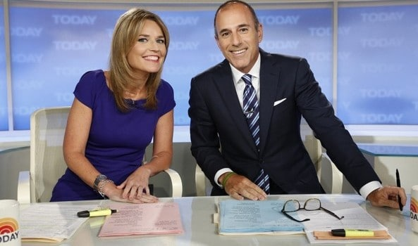 Savannah Guthrie and a very relieved Matt Lauer.