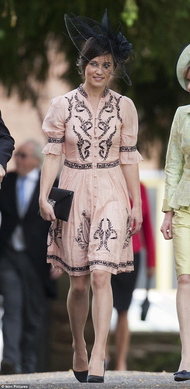 Pippa Middleton wearing Alice Temperley at the wedding today