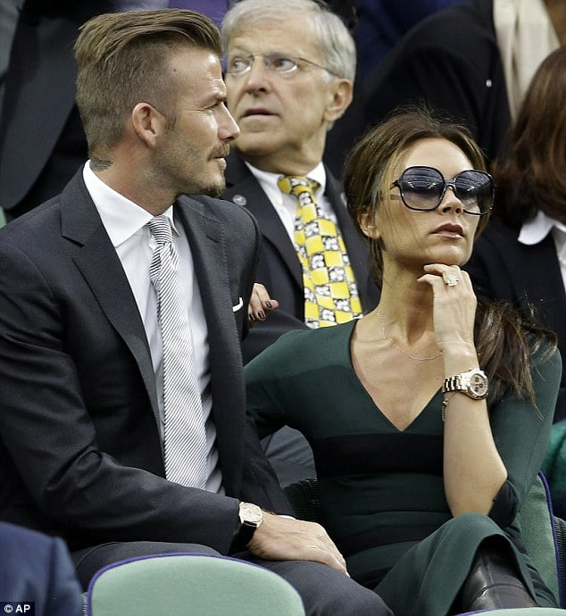 David and Victoria Beckham attend Wimbledon. Victoria trying to feign interest fails miserably