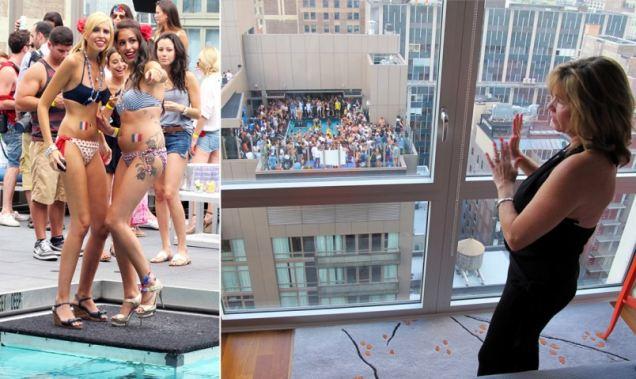 Bikini clad revelers at trendy NY hotel top pool parties driving neighbors mad.