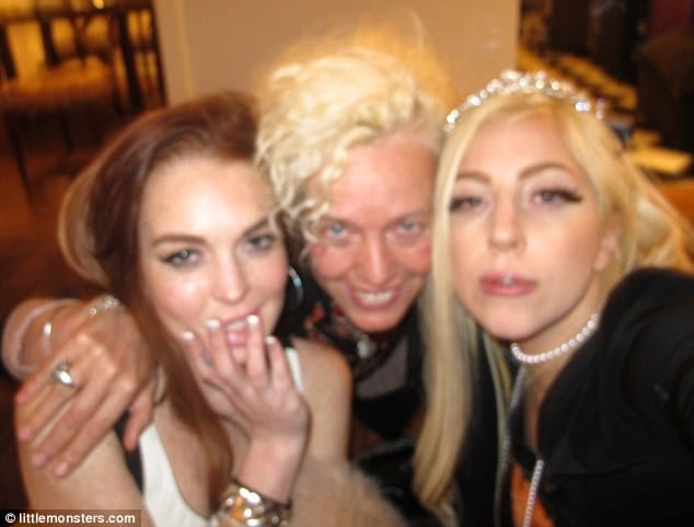 Lindsay Lohan and Lady Gaga pose with celebrity photographer Ellen Von Unwerth during a slumber party they had a Chateau Marmont earlier this month