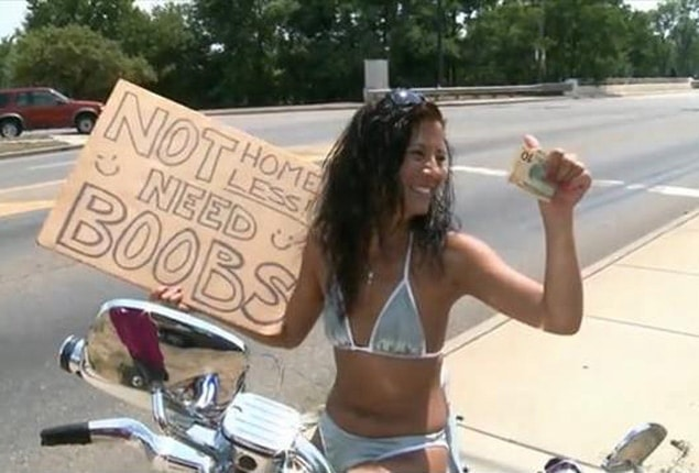 Flat chested woman panhandles in bikini so she can get breast implant.