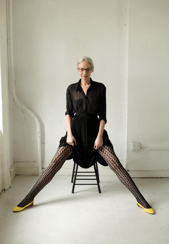 American Apparels new model Jacky has endless legs, killer cheekbones and grey hair...
