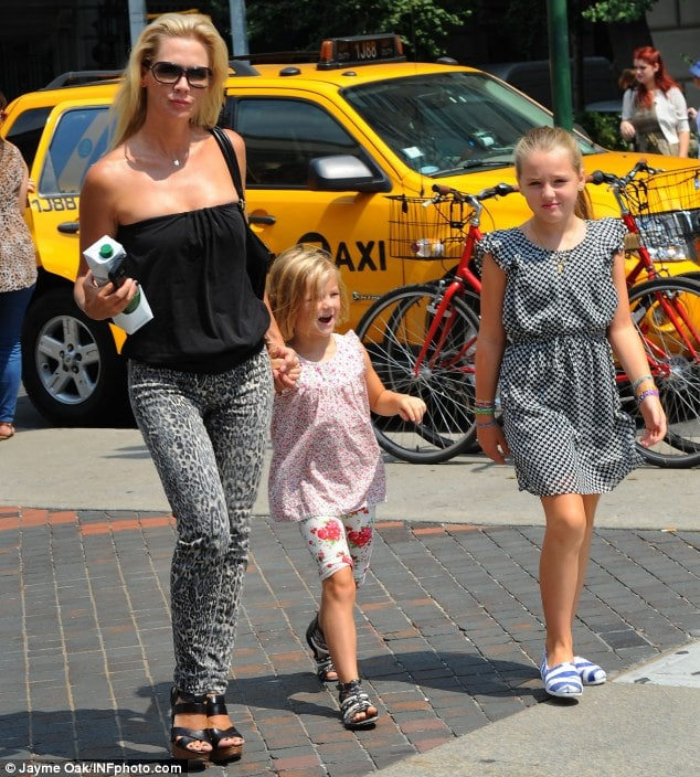 Hot in the city: Jennie Garth looked fabulous as she treated her two beautiful daughters to a a trip to the Metropolitan Museum of Art in Manhattan