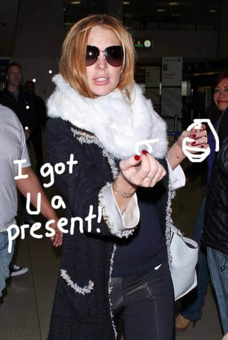 Lindsay Lohan. Image via perezhilton  What Lilo wants is what Lilo nearly gets. Trying to let the world know who the real hawt bixch of the show is… According to witnesses, belle du jour Lindsay Loha