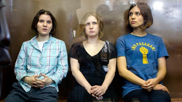 Nadezhda Tolokonnikova, Maria Alekhina, and Yekaterina Samutsevich, part of the Punk group Pussy Power.