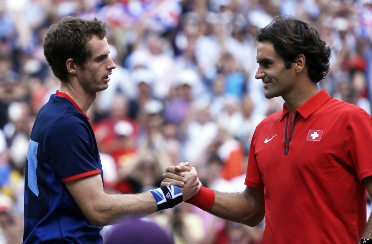 Andy Murray and Roger Federer who lost to Murray at the Olympic Finals