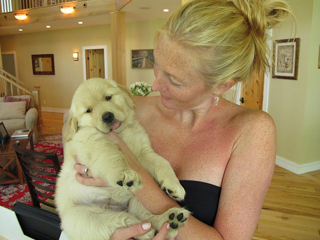 Maggie Rizer with Bea when she was first a young pup.