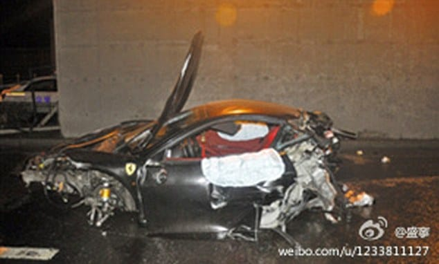 Destroyed: The Ferrari 458 of Ling Gu, the son of high-ranking Chinese official Ling Jihua, who was killed when the car span out of control in Beijing in March. The crash was covered up by the nation's government .