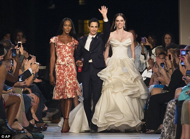 From left, model Naomi Campbell, designer Zac Posen, and model Coco Rocha at the Zac Posen show.