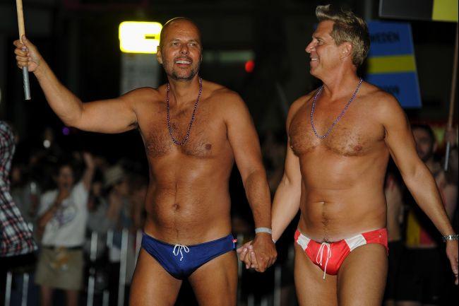 At one recent Australian gay lesbian mardi gras party...