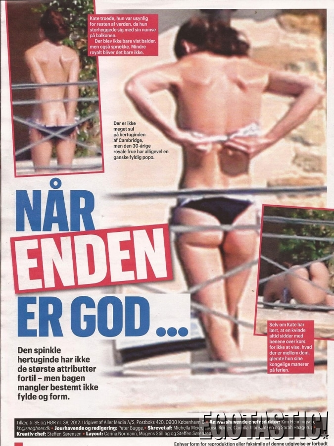 Kate Middeton topless and bottomless via Danish magazine Se og Hør,