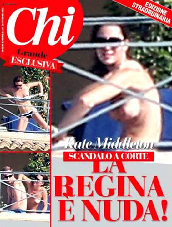 Kate Middleton on Italian Chi magazine cover. 'Court Scandal: The Queen is Nude!'